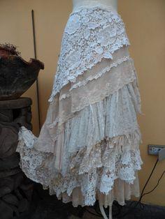 vintage inspired extra shabby wrap skirt/shawl...a von wildskin