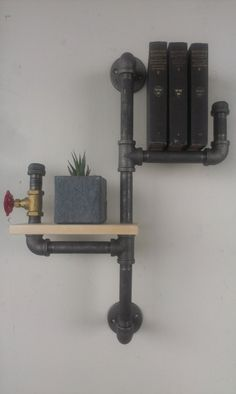 Industrial Vertical Pipe Book Shelf with Water Tap and Wood