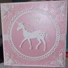 handmade luxury children's fantasy pagan birthday card a white unicorn horse