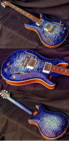 PRS private stock aqua violet glow. This type of stunning craftsmanship is what drove me to love PRS guitars! The handmade ones though, I was very dissapointed in the guitars they mass manufactured!