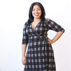 this ¾ sleeve dress is a classic wrap dress. the rita has a full coverage v-neck. the slightly flared skirt is knee length with a wrap waistband. machine wash cool, hang dry, no ironing ever needed! the rita is an american made dress crafted with love in Brooklyn, NY.