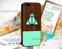 Deathly Hollows Wood Cool - Print On Hard Case iPhone 5 Case