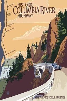 Columbia River Gorge, Oregon - Historic Columbia River Highway - Lantern Press Poster