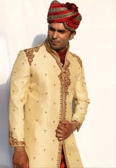 Buy Golden Brocade Readymade Sherwani 204342 online at lowest price from our mens wear collection at Indianclothstore.com. Wedding Sherwani, Brocade Fabric, How To Dye Fabric, Lehenga Choli, Off White, Menswear, One Piece, Indian, Apple Cut