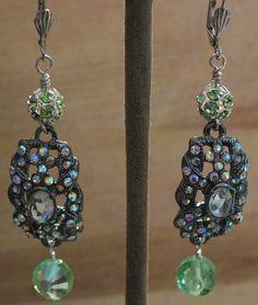 Women's Light Green Austrian Crystal and Silver Drop Earrings