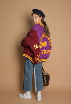 Paneled and Embroidered Lettering Varsity Jacket | STYLENANDA