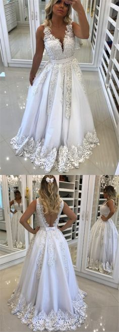 A-Line Deep V-Neck Backless White Tulle Prom Dress with Appliques Pearls,810901 by Dress Storm, $159.00 USD