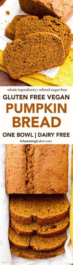 One Bowl Gluten Free Vegan Pumpkin Bread (V, GF, DF): an easy, one bowl recipe for perfectly rich and moist classic pumpkin bread. #Vegan #GlutenFree #DairyFree | BeamingBaker.com