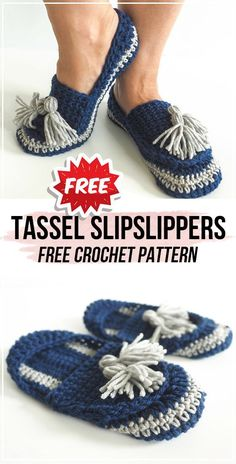 crochet Tassel Slip on Slippers free pattern Crochet Tassel Slip on Slippers FREE Pattern – easy crochet Slippers pattern for beginners Easy Crochet Slippers, Crochet Slipper Pattern, Crochet Socks, Crochet Baby Shoes, Knitted Slippers, Knitting Socks, Free Crochet, Crochet Crafts, Loom Knitting