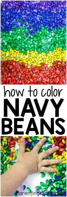 Kids will be amazed by this simple tutorial on how to color Rainbow Navy Beans for Sensory Play. This sensory bin filler is easy, quick, and affordable!