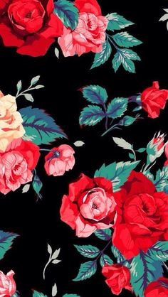 Roses prints on black background walpaper phone, floral wallpaper phone, iphone wallpaper art, Tumblr Wallpaper, Flower Wallpaper, Screen Wallpaper, Pattern Wallpaper, Wallpaper Backgrounds, Mobile Wallpaper, Wallpaper Lockscreen, Iphone Backgrounds, Wallpaper Desktop