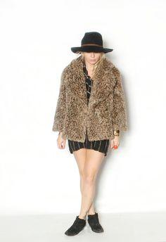 Vintage Faux Fur Leopard Coat by redpoppyvintageshop on Etsy, $58.00