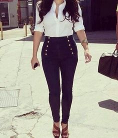 High waisted pants! Helping us curve challenged girls get that hour glass look! hahahhah :-)