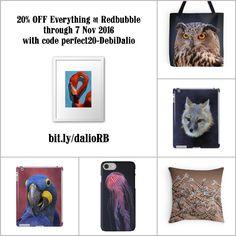 20% OFF Everything at Redbubble through 07 Nov 2016 with code perfect20-DebiDalio. https://www.redbubble.com/people/DebiDalio/portfolio #homedecor #accessories #phonecases #photography #animals #StudioDalio #redbubble