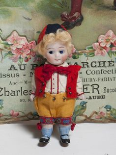 "4 1/2"" (11 cm) Antique German All Bisque KESTNER Googly in Folklore from respectfulbear on Ruby Lane"