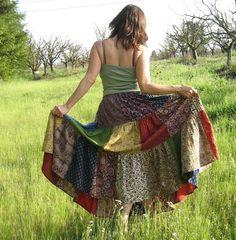 Boho chic Rock, Patchwork Rock, Frauen und Männer, sowie Größe Skirt, Unisex: Rock, indische Drucke, handgemacht