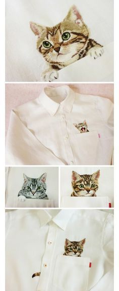 Embroidered kittens on shirts Ribbon Embroidery, Embroidery Art, Cross Stitch Embroidery, Embroidery Patterns, Machine Embroidery, Cooler Look, Fabric Painting, Diy Clothes, Silhouette Cameo
