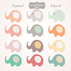 Baby Elephant clipart by burlapandlace on Creative Market