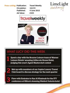 What did Lucy do this week? - Travel Weekly -  4 June 2015