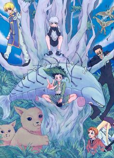 NOSSA QUE LINDA ARTE... LINDO...Kurapika, Killua, Gon, Leorio, Mito, and Kite  ~Hunter X Hunter