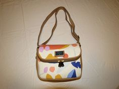 Fossil ZB6556991 Preston Small Flap Light Floral canvas Leather purse NWT^^ #Fossil #CrossBody