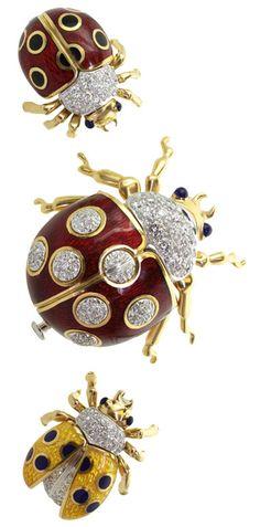 TIFFANY & CO. 3 Ladybug Enamel Diamond Platinum Gold Brooches