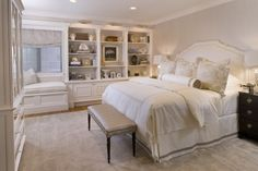 serene bedroom, love built-ins
