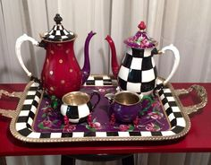 Painted Tea Set // Whimsical Painted Tea Set by paintingbymichele