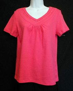 Karen Scott Top Pink Size S Cotton Solid Embellished V Neck Short Sleeve