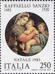 Natale- 10 novembre 1983  250 L.•Madonna della seggiola, dipinto di Raffaello Sanzio•policromo•Dettagli 400 L.•Madonna Sistina, ...