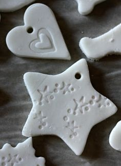 Better Than Salt Dough Clay: 1/2 cup cornstarch 1 cup baking soda 3/4 cup water Bake at 175