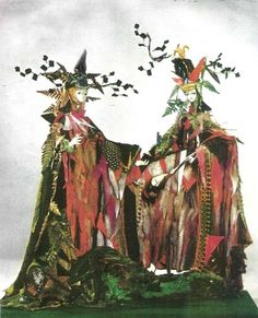"""models of Tony Award Winning costumes for original Broadway production of """"Camelot"""" designed by Tony Duquette"""