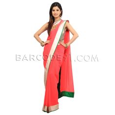 $318 Peach georgette saree is with antique border.It comes with green raw silk blouse with embroidery.Size available:US 0,US 2,US 4,US 6.Slight variation is possible in color.