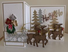 new Christmas stamp/die Santas sleigh partly cased from Kathy  wayson