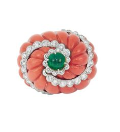 Gold, Fluted Coral, Cabochon Emerald and Diamond Dome Ring
