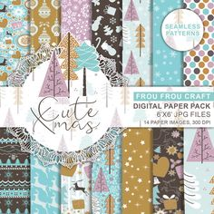 Cute Christmas Digital Paper Pack Winter Seamless Pattern Vintage Retro Instant Download Xmas Holiday Seasonal Cream Blue Green Chocolate