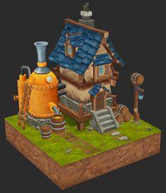 Medieval Brewery, JongEun Lee on ArtStation at https://www.artstation.com/artwork/6x2x0