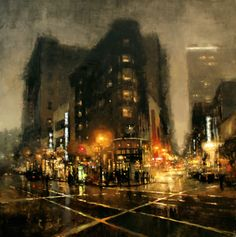 "The Traditional Work of Jeremy Mann - Cityscapes ""Market St., Night in Green"" - Oil on Panel - 48 x 48 in. Watercolor Landscape, Landscape Paintings, Watercolor Paintings, Oil Paintings, Art Mann, Foto Gif, Ville New York, City Painting, City Art"