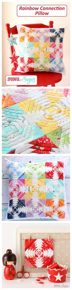 The Rainbow Connection Pillow is a bright and cheerful project – perfect for a child's bedroom or playroom. It is a modern take on the traditional pineapple quilt block. Rainbow Connection Pillow is a fun scrap buster project – all you need is a bunch of bright and low volume fabric scraps. Using a foundation paper piecing method, you will quickly and accurately make this project in a weekend. Also included in the instructions are bonus instructions for turning the pillow into a mini quilt.