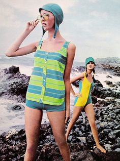 "Seventeen mag - June 1968. ""Blue and green stripes, a horizontal crossing on an Orlon tank top, shirt-tailed to pull away from your hips. Peaking out from under, solid blue shorts."""