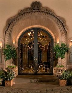Colletti Design - Iron Entry Doors, it would be way better as an interior to a courtyard, is too flashy for an entry. Door Entryway, Entrance Doors, Doorway, Front Doors, Grand Entryway, Grand Entrance, Front Entry, Tuscan Design, Tuscan Style