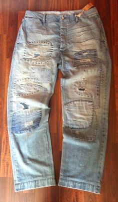 "RALPH LAUREN • RRL • Distressed Patched Baggy Chino Jeans•36/32• W37.5""•RRP £500 in Clothes, Shoes & Accessories, Men's Clothing, Jeans 