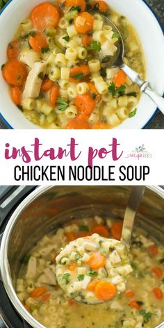 This Creamy Instant Pot Chicken Noodle Soup Recipe is a healthy dinner recipe th. - This Creamy Instant Pot Chicken Noodle Soup Recipe is a healthy dinner recipe that's easy enough - Instant Pot Chicken Noodle Soup Recipe, Chicken Soup Recipes, Recipe Chicken, Instapot Chicken Soup, Instapot Soup Recipes, Recipes With Chicken Quick, Instant Pot Soup Recipe, Vegetarian Chicken Noodle Soup, Chicken Recipes Dairy Free