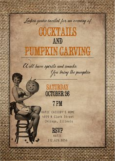 Halloween Party Invitation  Cocktails & Pumpkin by BrownDogPress, $18.00