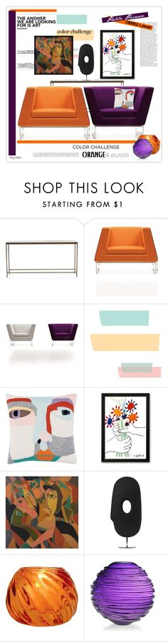 """""""Color Challenge: Orange and Purple with Pablo Picasso"""" by mcheffer ❤ liked on Polyvore featuring interior, interiors, interior design, maison, home decor, interior decorating, Mitchell Gold + Bob Williams, LuckyBoySunday, Moooi et Cultural Intrigue"""