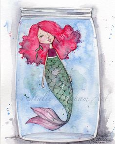 "Gefällt 11 Mal, 1 Kommentare - Natalie Mecham (@nataliemechamart) auf Instagram: ""Another mermaid in a jar. #nataliemechamart #paintingoftheday #feature_gallery #mermaid #watercolor…"""