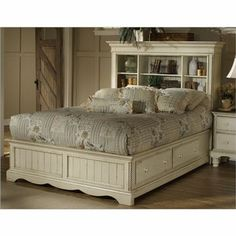 Wilshire Queen Size Bookcase Bed with Storage in Antique White
