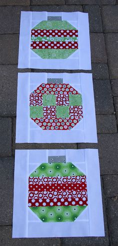 Great Christmas ornament blocks to use as a wall hanging, candle mat or put several together for a table runner...Will have to try to see if I can make some for gifts...