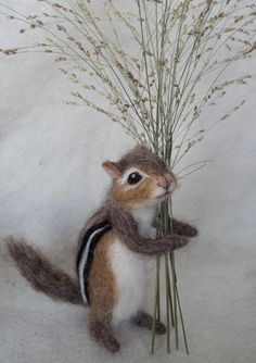 Chipmunk by needle felt artist Claudia Marie