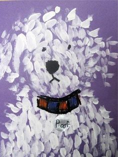 This is a kindergarten project. Use violet paper and double dip white and light blue paint.  Adorable!
